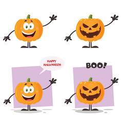 evil halloween pumpkin character collection - 1 vector image