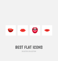 Flat icon lips set of tongue pomade lips and vector