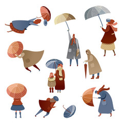 flat set of people with umbrellas fighting vector image