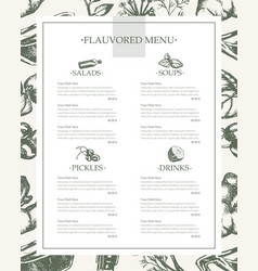 flavoured products - hand drawn template menu vector image