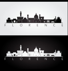 Florence skyline and landmarks silhouette vector