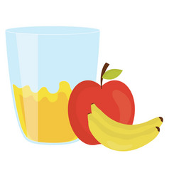 Fresh apple and bananas juice fruits in glass vector