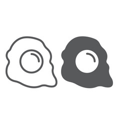 fried egg line and glyph icon breakfast and food vector image