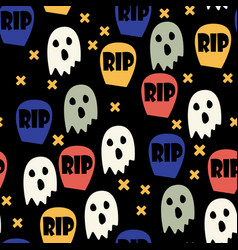ghost and gravestone halloween pattern vector image