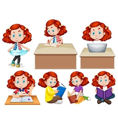 Girl doing different activities vector image