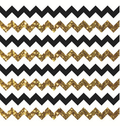 Glittery gold chevron zigzag pattern with black vector