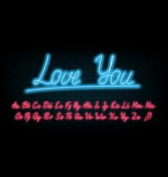 glowing neon handwritten script font vector image