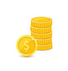 Golden dollars metal coins stack realistic vector