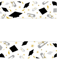 Graduation greeting banner with student caps and vector
