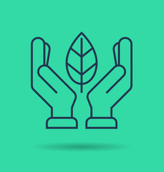 green isolated linear icon - hands with leaf vector image