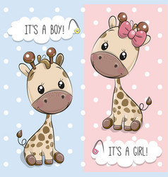 Greeting card with cute giraffes vector