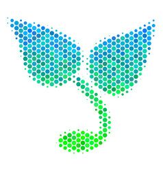 Halftone blue-green sprout icon vector