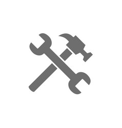 Hammer with wrench grey icon isolated vector