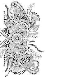Hand-drawn abstract floral background in henna meh vector