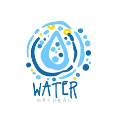 Hand drawn water logo with whirlpool frame and vector