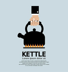 Hand Putting A Kettle On A Fire Stove vector image