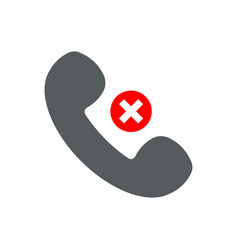handset flat icon with prohibition sign vector image