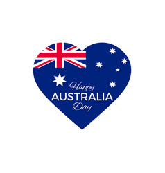 happy australia day 26th january heart with the vector image