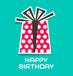 Happy Birthday Card Paper Gift Box and Paper Cut vector image vector image