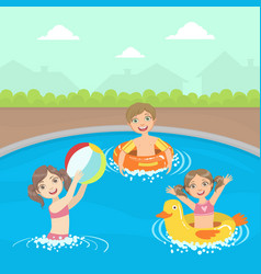 Happy little boys and girls swimming and playing vector