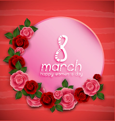 happy womens day greeting on red background vector image