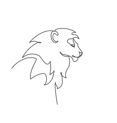 head lion with mane continuous one line vector image