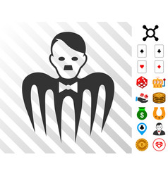 Hitler croupier monster icon with bonus vector