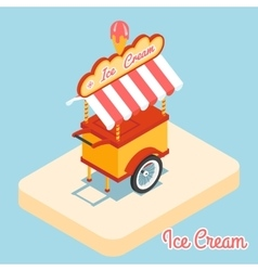 Ice cream cart 3d flat icon vector