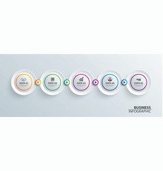 infographics timeline circle paper with 5 data vector image