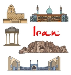 Iran architecture landmarks sightseeings vector