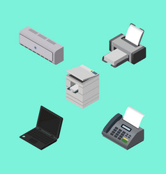 isometric cabinet set of laptop printing machine vector image