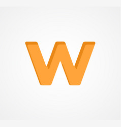 Letter w bold geometric font element modern vector