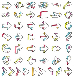 Line 3D Arrows Icon Set vector