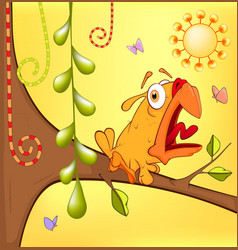 Little yellow birdie cartoon vector image