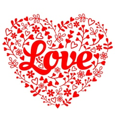 Love red flower heart vector image