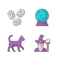 Magic color icons set runestones fortune telling vector