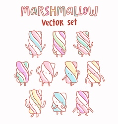 Marshmallow cartoon set vector image