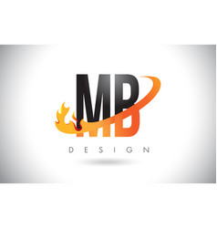 mb m b letter logo with fire flames design and vector image