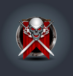 medieval warrior skull with swords rusty iron vector image