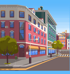 Modern city street realistic tranquil town look vector