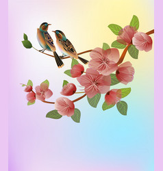 Nature background with blossom branch of pink vector