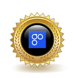 Omisego cryptocurrency coin gold badge vector