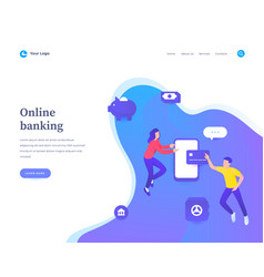 online banking concept workflow flying or vector image