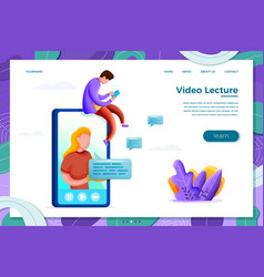 online learning concept with cartoon girl vector image