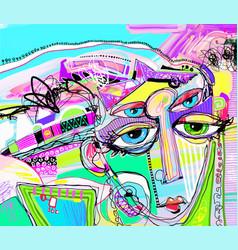 Original abstract digital painting of human face vector