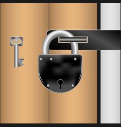 padlock the key closed the door vector image