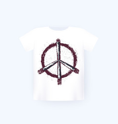 Peace sign with bullets t-shirt print on mockup vector