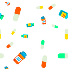 pill seamless pattern medical vitamin vector image