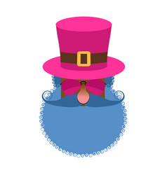 pimp head isolated eccentric man with beard and vector image