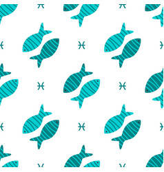 pisces zodiac sign seamless pattern vector image